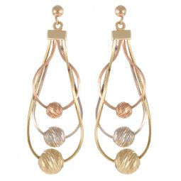 Pre-Owned 9ct Multi Colour Gold Tri-colour Earrings  - 2.5g