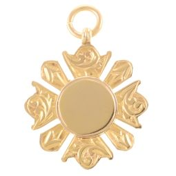 Pre-Owned 9ct Yellow Gold Patterned Pendant - 4.8g