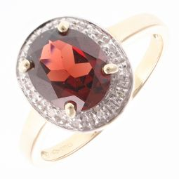 Pre-Owned 9ct Yellow Gold Cocktail Ruby & Diamonds Ring - 2.9g