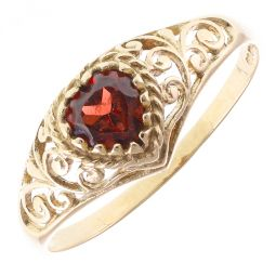 Pre-Owned 9ct Yellow Gold Ruby Heart Ring - 1.4g