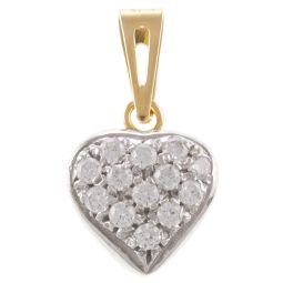Pre-Owned 18ct Yellow & White Gold Cocktail Heart Shape Pendant - 2g