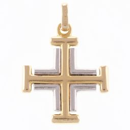 Pre-Owned 18ct Yellow & White Gold Solid Greek Cross Cross Pendant - 9.1g