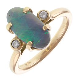 Pre-Owned 18ct Yellow Gold Opal & Diamond Ring - 7.8g  - Size U 1/2