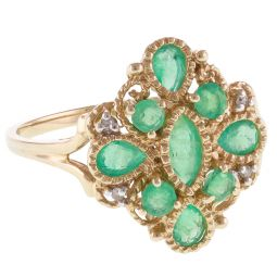 Pre-Owned 9ct Yellow Gold Emerald Cluster Ring - 1.9g  - Size O 1/2