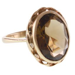 Pre-Owned 9ct Yellow Gold Smoky Quartz Vintage Ring - 4.8g
