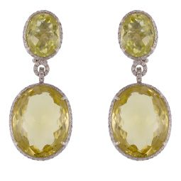 Pre-owned 18ct White Gold Oval Tourmaline Drop Earrings - 37g