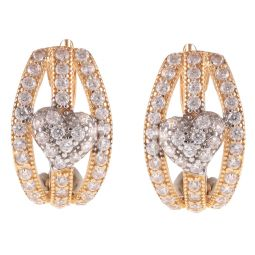 Pre-owned 21ct Yellow Gold Heart Earrings