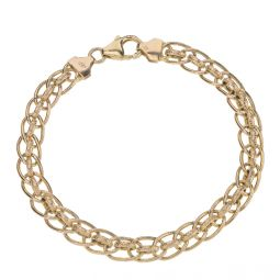 Pre-owned 9ct Gold Hollow Rolo Bracelet - 7.5 inches