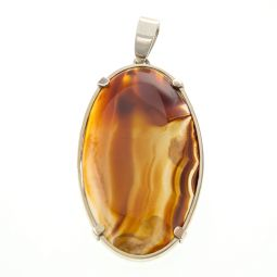 Pre-owned Natural Agate Gemstone Silver Pendant