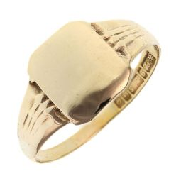 Pre-owned 9ct Yellow Gold Signet Square Ring - Size X 1/2
