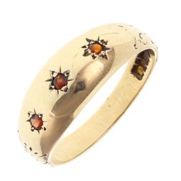 Pre-owned 9ct Yellow Gold Gemstone Three Stone Ring - Size O