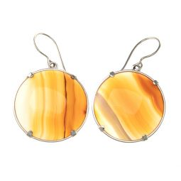 Pre-owned Agate Gemstone Silver Earrings
