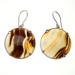 Pre-owned Natural Agate Gemstone Silver Drop Earrings