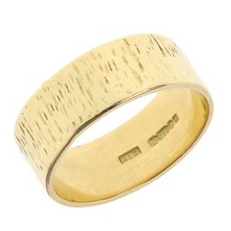 Pre-owned 18ct Yellow Gold Band Textured Ring - 10g - Size W