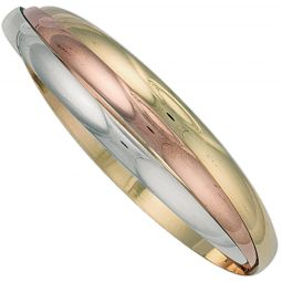 9ct Yellow White And Rose Gold Russian Style 4.9mm Bangle