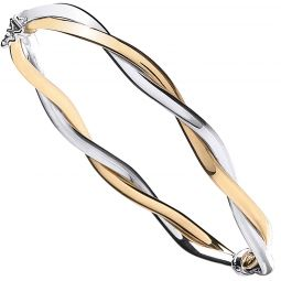 9ct Yellow And White Gold  Bangle 3.6mm