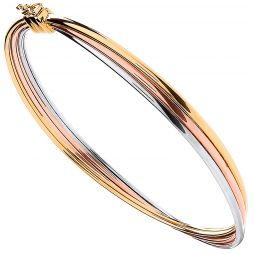 9ct Yellow White And Rose Gold Russian Style 8.4mm Bangle