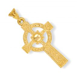 9ct Yellow Gold Engraved Celtic Cross