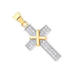Yellow Gold and  Cubic Zirconia Cross