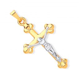 9ct Yellow and White gold Crucifix Pendant