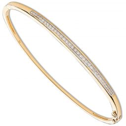 9ct Yellow Gold 0.50ct Channel Set Diamond Bangle