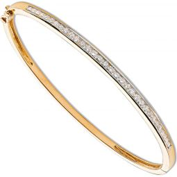 9ct Yellow Gold 1.00ct Channel Set Diamond Bangle