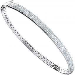 9ct White Gold 0.86cts Pave Set Diamond Bangle