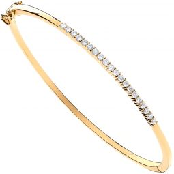 9ct Yellow Gold 0.50cts Diamond Bangle