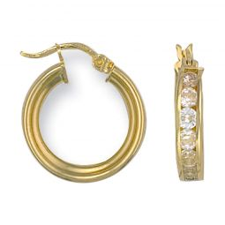 9ct Yellow Gold And Cz Hoop Earrings 18.7 X 4mm