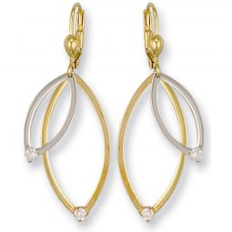 9ct Yellow And White Gold And Cz Drop Earrings 47.5 X 14.8mm