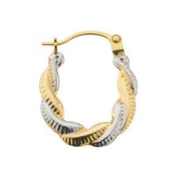 9ct White And Yellow Gold Fancy Twisted Creoles