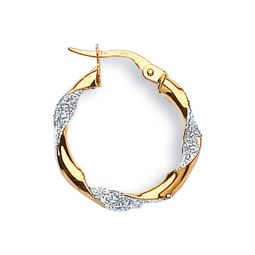 9ct Yellow And White Gold Hoop Earrings 22mm