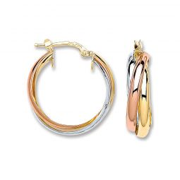 3 Colour 9ct Gold Russian Style Hoops 17.5mm