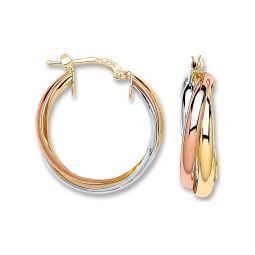 3 Colour 9ct Gold Russian Style Hoops 23mm