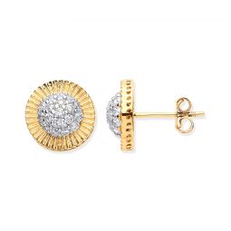 9ct Yellow Gold Cz Round Stud Earrings 11.5mm