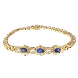 Pre-owned 18ct Yellow Gold Sapphire Ladies Bracelet - 7.5 Inches - 17g