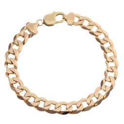"""Pre-owned 9ct Solid Yellow Gold Curb Bracelet 8.5"""" 29.6g"""