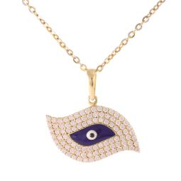 """Pre-Owned 14ct Yellow Gold Evil Eye Necklaces- 16"""""""