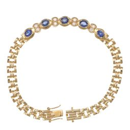 Pre-owned 18ct Yellow Gold Sapphire Ladies Bracelet - 7 Inches - 12g
