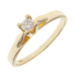 Pre-owned 14ct Yellow Gold 0.13ct Diamond Solitaire Ring - Size N