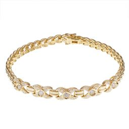 Pre-owned Yellow Gold Diamond Kiss Bracelet - 7.2 Inches - 13g