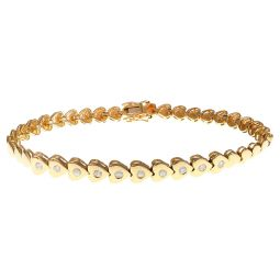 Pre-owned 18ct Yellow Gold Diamond Heart Bracelet - 6.8 Inches - 11g