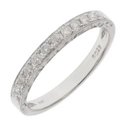Pre-owned 14ct White Gold Half Eternity Ring - Size M 1/2