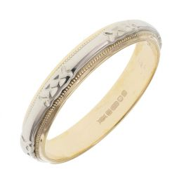 Pre-owned 14ct Yellow & White Gold Patterned Ring - Size l