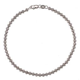 Pre-owned 18ct White Gold Diamond Cut Bead Bracelet - 7 Inches