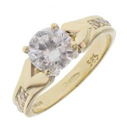 Pre-owned 14ct Yellow Gold Solitaire Ring - Size J 1/2
