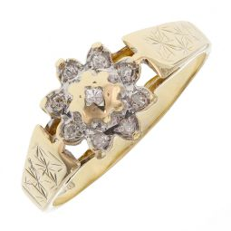 Pre-owned 9ct Yellow Gold Cluster Ring - Size l