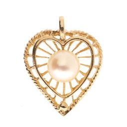 Pre-owned 9ct Yellow Gold Pearl Heart Pendant