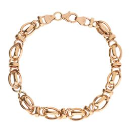 Pre-owned 9ct Rose Gold Fancy Bracelet 7.25 Inches