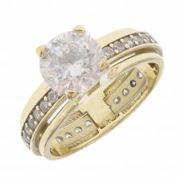 Pre-owned 14ct Yellow Gold CZ Solitaire Ring - Size I 1/2